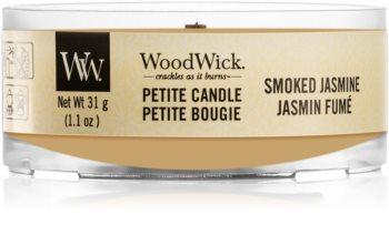 Woodwick Smoked Jasmine mala mirisna svijeća bez staklene posude s drvenim fitiljem