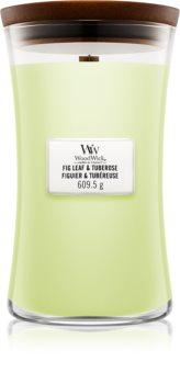 Woodwick Fig Leaf & Tuberose lumânare parfumată  cu fitil din lemn