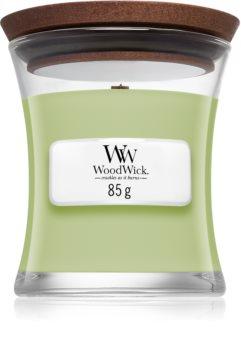 Woodwick Fig Leaf & Tuberose mirisna svijeća s drvenim fitiljem