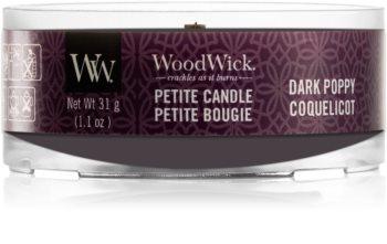 Woodwick Dark Poppy mala mirisna svijeća bez staklene posude s drvenim fitiljem