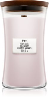 Woodwick Wild Violet mirisna svijeća s drvenim fitiljem
