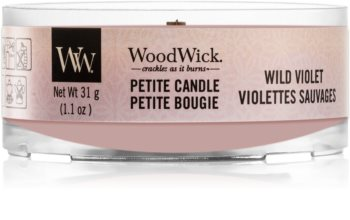 Woodwick Wild Violet votívna sviečka s dreveným knotom