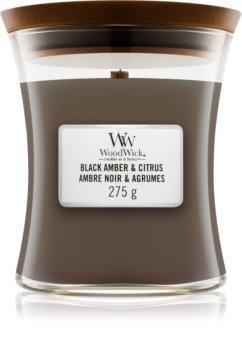 Woodwick Black Amber & Citrus bougie parfumée moyenne