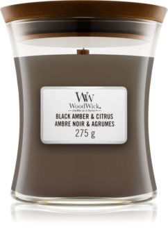 Woodwick Black Amber & Citrus scented candle Medium