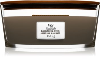 Woodwick Black Amber & Citrus doftljus trä wick (hearthwick)