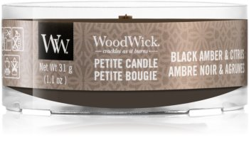 Woodwick Black Amber & Citrus lumânare votiv cu fitil din lemn