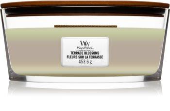 Woodwick Trilogy Terrace Blossoms Tuoksukynttilä puinen sydän (sydänlanka)