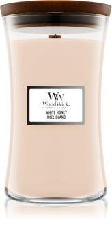 Woodwick White Honey candela profumata con stoppino in legno