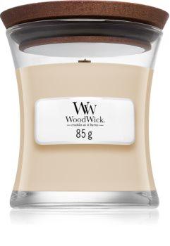 Woodwick White Honey geurkaars met een houten lont
