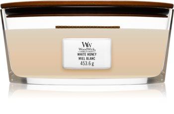 Woodwick White Honey świeczka zapachowa  z drewnianym knotem (hearthwick)