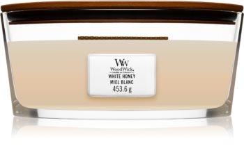 Woodwick White Honey Tuoksukynttilä puinen sydän (sydänlanka)