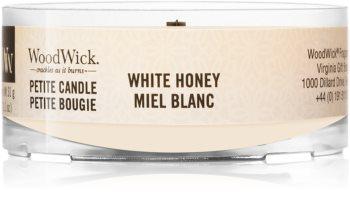 Woodwick White Honey mala mirisna svijeća bez staklene posude s drvenim fitiljem