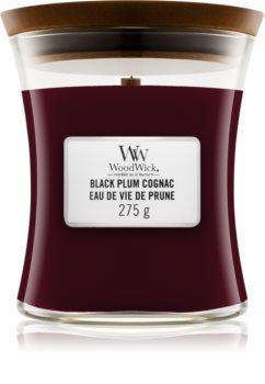 Woodwick Black Plum lumânare parfumată  cu fitil din lemn