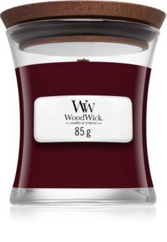 Woodwick Black Plum illatos gyertya  fa kanóccal