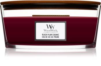 Woodwick Black Plum świeczka zapachowa  z drewnianym knotem (hearthwick)