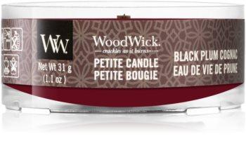Woodwick Black Plum mala mirisna svijeća bez staklene posude s drvenim fitiljem