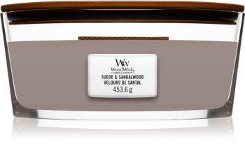 Woodwick Suede & Sandalwood lumânare parfumată  cu fitil din lemn (hearthwick)