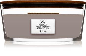 Woodwick Suede & Sandalwood mirisna svijeća s drvenim fitiljem (hearthwick)