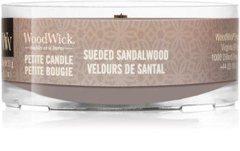 Woodwick Suede & Sandalwood votivní svíčka s dřevěným knotem