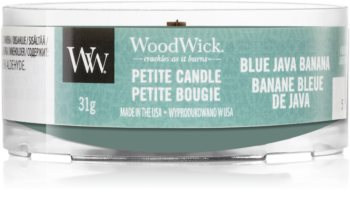 Woodwick Blue Java Banana votive candle Wooden Wick