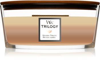Woodwick Trilogy Golden Treats doftljus trä wick (hearthwick)