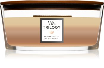 Woodwick Trilogy Golden Treats scented candle wooden wick (hearthwick)