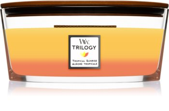 Woodwick Trilogy Tropical Sunrise scented candle wooden wick (hearthwick)
