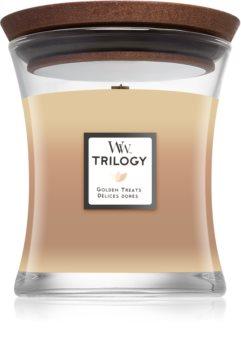 Woodwick Trilogy Golden Treats mirisna svijeća s drvenim fitiljem