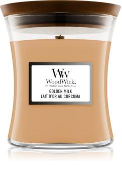 Woodwick Golden Milk vonná svíčka s dřevěným knotem