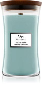 Woodwick Blue Java Banana candela profumata con stoppino in legno
