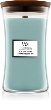 Woodwick Blue Java Banana scented candle Wooden Wick