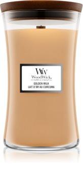 Woodwick Golden Milk geurkaars met een houten lont