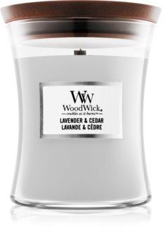 Woodwick Lavender & Cedar scented candle