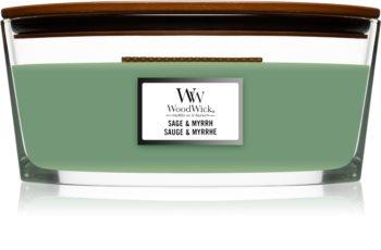 Woodwick Sage & Myrrh αρωματικό κερί με ξύλινο φιτίλι (hearthwick)