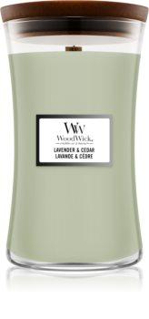 Woodwick Lavender & Cedar candela profumata