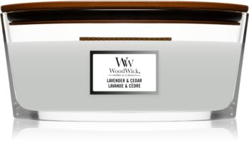 Woodwick Lavender & Cedar lumânare parfumată  cu fitil din lemn (hearthwick)