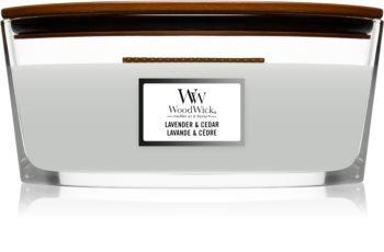 Woodwick Lavender & Cedar świeczka zapachowa  z drewnianym knotem (hearthwick)