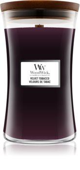 Woodwick Velvet Tobacco lumânare parfumată  cu fitil din lemn