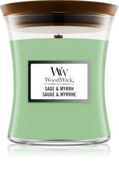 Woodwick Sage & Myrrh vonná sviečka s dreveným knotom