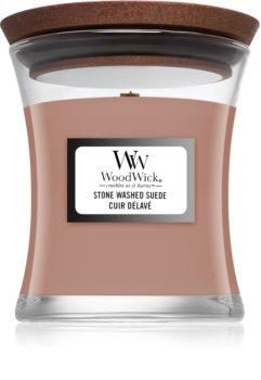 Woodwick Stone Washed Suede lumânare parfumată  cu fitil din lemn
