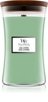 Woodwick Sage & Myrrh lumânare parfumată  cu fitil din lemn