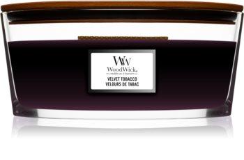 Woodwick Velvet Tobacco vonná svíčka s dřevěným knotem (hearthwick)