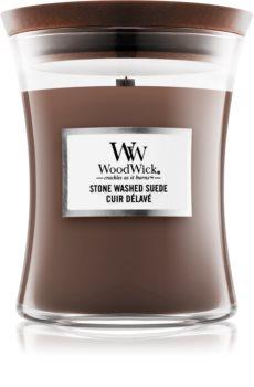 Woodwick Stone Washed Suede candela profumata
