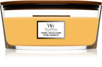 Woodwick Caramel Toasted Sesame scented candle wooden wick (hearthwick)