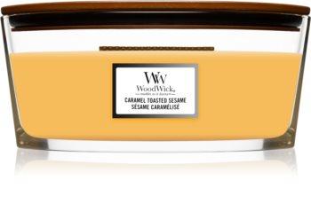 Woodwick Caramel Toasted Sesame Tuoksukynttilä puinen sydän (sydänlanka)