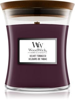 Woodwick Velvet Tobacco świeczka zapachowa  z drewnianym knotem