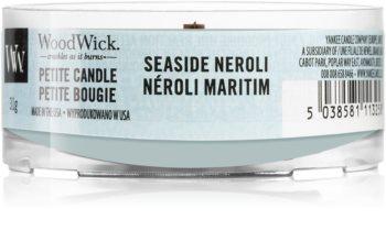 Woodwick Seaside Neroli mala mirisna svijeća bez staklene posude s drvenim fitiljem