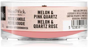 Woodwick Melon & Pink Quarz mala mirisna svijeća bez staklene posude s drvenim fitiljem
