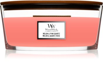 Woodwick Melon & Pink Quarz dišeča sveča  z lesenim stenjem (hearthwick)