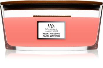 Woodwick Melon & Pink Quarz świeczka zapachowa  z drewnianym knotem (hearthwick)